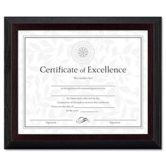 DAX Stepped Award/Certificate Frame, 8 x 10, Black w/Walnut Trim