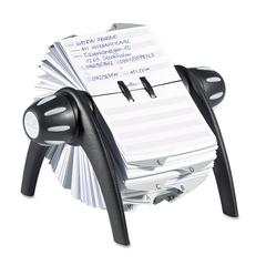 Durable TELINDEX Rotary Address Card File Holds 500 4 1/8 x 2 7/8 Cards, Graphite/Black