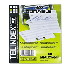 Durable TELINDEX Flip Address Card Refills, 4 1/8 x 2 7/8 Cards, Gray/White, 100/Pack