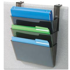 DocuPocket Three-Pocket Partition Set, Plastic, Letter, 13 x 4 x 7, Black
