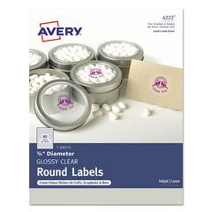 """Printable Self-Adhesive Permanent 3/4"""" Round ID Labels, 3/4""""dia., Clear, 400/Pk"""