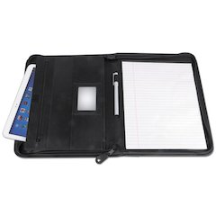Leather Textured Zippered PadFolio with Tablet Pocket, 10 3/4 x 13 1/8, Black