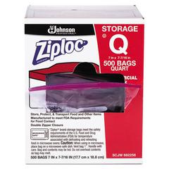 Double Zipper Plastic Storage Bag, 1.75 mil, 1qt, Clr, Write-On ID Panel, 500/BX