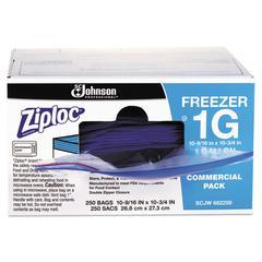 Double-Zipper Freezer Bags, 1gal, 2.7mil, Clear w/Label Panel, 250/Carton