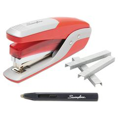 Quick Touch Stapler Value Pack, 28-Sheet Capacity, Red/Silver