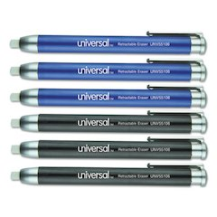 Pen-Style Retractable Eraser, Blue;Black, 6/Pack
