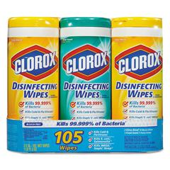 Disinfecting Wipes, 7 x 8, Fresh Scent/Citrus Blend, 35/Canister, 3/Pack