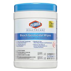 Bleach Germicidal Wipes, 6 x 5, Unscented, 150/Canister, 6 Canisters/Carton