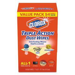 Triple Action Dust Wipes, White, 7 x 8 1/2, 54/Box