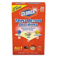 Triple Action Dust Wipes, White, 8 1/2 x 7, 20/Box
