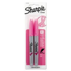 Pink Ribbon Fine Tip Permanent Marker, Pink, 2/Pack