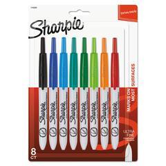 Retractable Permanent Marker, Ultra Fine Tip, Assorted Colors, 8/Set