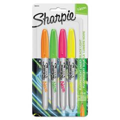 Neon Permanent Markers, Assorted, 4/Pack