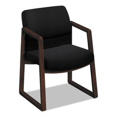 2400 Series Guest Chair, Mahogany Finish, Black Fabric