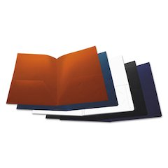 Two-Pocket Plastic Folders, 11 x 8 1/2, Assorted, 10/Pack