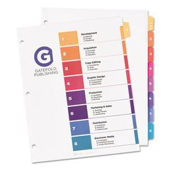 Ready Index Table of Contents Dividers w/Multicolor Tabs, 8-Tab, Letter