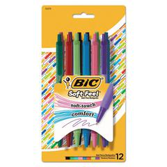 Soft Feel Retractable Ballpoint Pen, 1 mm, Medium, Assorted Ink, 12/PK