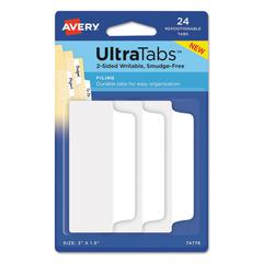Ultra Tabs Repositionable Tabs, 3 x 1 1/2, White, 24/Pack