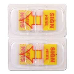"""Deluxe Message Arrow Flags, """"Sign Here"""", Yellow, 500/Pack"""