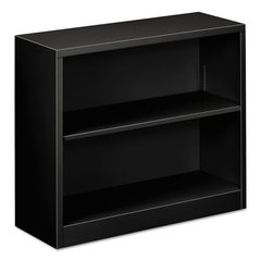"Steel Bookcase, 2-Shelf, 34.5""w x 12.63""d x 29""h, Black"