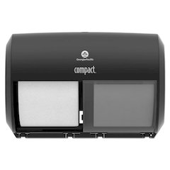 Compact Coreless Side-by-Side 2-Roll Tissue Dispenser, 11.5 x 7.625 x 8, Black