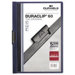 Vinyl DuraClip Report Cover w/Clip, Letter, Holds 60 Pages, Clear/Navy, 25/Box