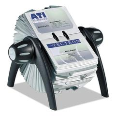 VISIFIX Rotary Business Card File Holds 400 4 1/8 x 2 7/8 Cards, Black/Silver