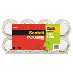 """Sure Start Packaging Tape, 1.88"""" x 54.6yds, 3"""" Core, Clear, 8/Pack"""