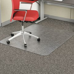 "Studded Chair Mat for Flat Pile Carpet, Rectangle, 46"" x 60"", Carpet, Clear"