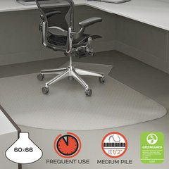 """SuperMat Frequent Use Chair Mat, 60"""" x 66"""", Medium Pile, Clear"""