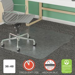 """SuperMat Frequent Use Chair Mat, Rectangle, 36"""" x 48"""", Medium Pile, Clear"""