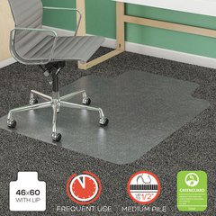 SuperMat Frequent Use Chair Mat for Medium Pile Carpet, 46 x 60, Wide Lipped, CR