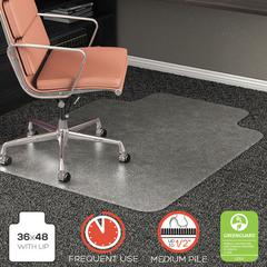 """RollaMat Frequent Use Chair Mat for High Pile Carpet, Lip, 36"""" x 48"""", Clear"""