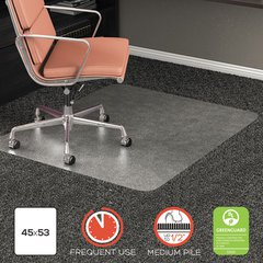 """RollaMat Frequent Use Chair Mat for High Pile Carpet, 45"""" x 53"""", Clear"""
