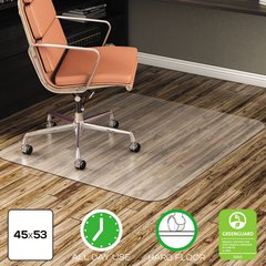 EconoMat All Day Use Chair Mat for Hard Floors, 45 x 53, Rectangular, Clear