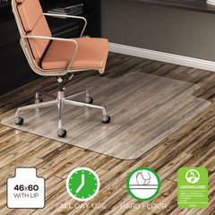 "EconoMat All Day Use Chair Mat for Hard Floors, Lip, 46"" x 60"", Low Pile, Clear"