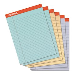 Colored Perforated Ruled Writing Pad, Legal, 8 1/2x11 3/4, Asst, 50 Sheet, 6/PK