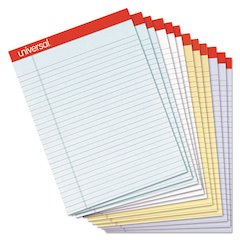Colored Perforated Ruled Writing Pad, Legal, 8 1/2 x 11 3/4, Asst, 50 Sheets, DZ