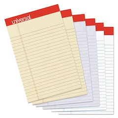 Colored Perforated Ruled Writing Pad, Narrow Rule, 5 x 8, Asst, 50 Sheets, 6/PK