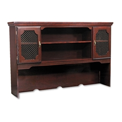 Governors Series Laminate Hutch, 66w x 13d x 46h, Mahogany
