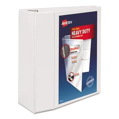 "Heavy-Duty View Binder w/Locking 1-Touch EZD Rings, 5"" Cap, White"
