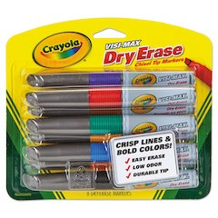 Dry Erase Marker, Chisel Tip, Assorted Colors, 8/Set