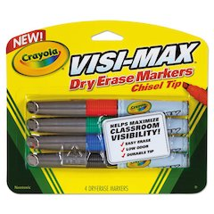 Dry Erase Marker, Chisel Tip, Broad,  Assorted Colors, 4/Set
