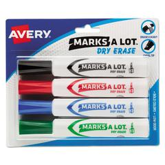 MARK A LOT Desk-Style Dry Erase Marker, Chisel Tip, Assorted, 4/Set