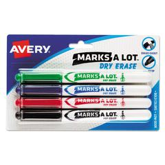 MARK A LOT Pen-Style Dry Erase Markers, Bullet Tip, Assorted, 4/Set