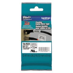 "Flexible ID Tape, 12mm x 8m (0.47"" x 26.2 ft.), Black on White"