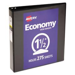 "Economy View Binder w/Round Rings, 11 x 8 1/2, 1 1/2"" Cap, Black"