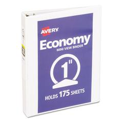 "Economy View Binder w/Round Rings, 8 1/2 x 5 1/2, 1"" Cap, White"
