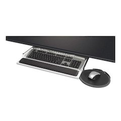 Under Desk Keyboard Drawer with Mouse Platform, 22 x 19 x 2 to 4, Gray