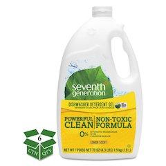 Natural Automatic Dishwasher Gel, Lemon, Jumbo 70 oz Bottle, 6/CT